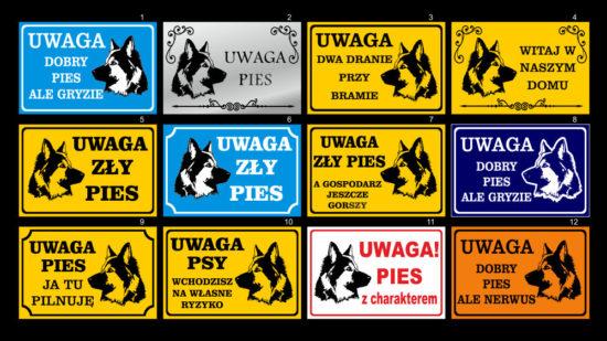 Tabliczki Uwaga pies. Wzory 25-40