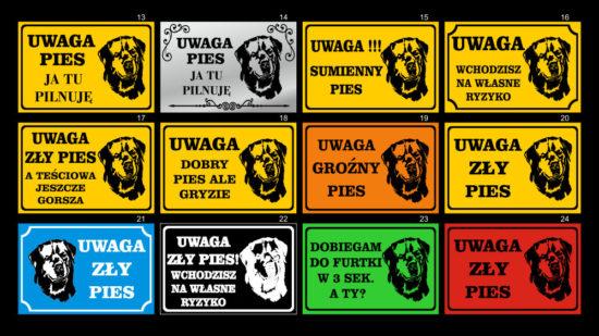 Tabliczki Uwaga pies. Wzory 13-24