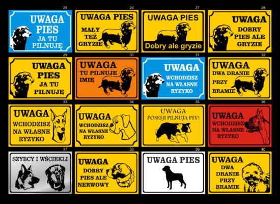 Tabliczki Uwaga pies. Wzory 1-12